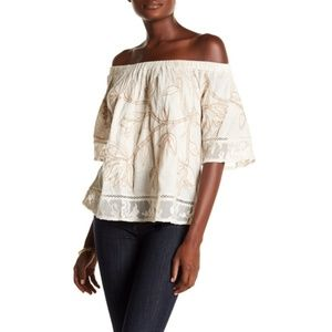 Lucky Brand Embroidered Off the Shoulder Top Small